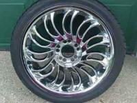 Chrome rims and tires for sale. Had them on my 01 Saab