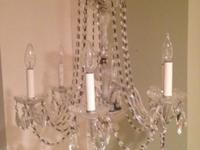 Vintage estate chrystal chandelier, 3 tier with 6