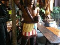 Life-size cigar shop solid timber Indian statuary; best