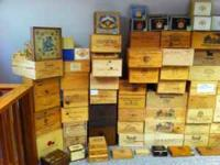 Large selection of wine and cigar boxes available. Many