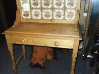 circa 1860 double tile washstand w/ drawer. In original