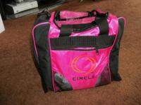Circle Pink/Black Bowing Bag With Handle & Strap