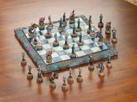 Each playing piece of this meticulously detailed chess