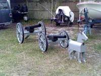 "CIVIL WAR LAWN CANNON LARGE 32"" WHEELS, $275.00, SMALL"