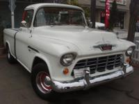 Traditional 1955 Chevy 3100 pickup. Rare Cameo model.
