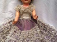 "Classic Antique Doll 24"" tall, salt and pepper hair,"