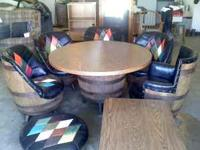 Old barrel furniture in good condition. 8 Pieces: - 5