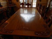 Antique Oak Tiger Wood Dining Room Set For Sale In