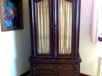 Classic Solid Mahogany Armoire With 5 Draws / 2 Shelves