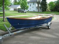 New 16 foot wooden dory fishing boat for sale.  Red