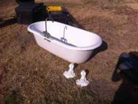 Clawfoot tub, mixing valve, 4 feet (1 needs repair).