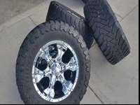 Very nice set of wheels and tires. The tires are Toyo