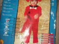 This is a Clifford the Big Red Dog Costume in a child's