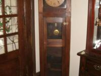 Oak tall case clock with display shelves in Arts Crafts