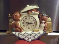 CUTE COUNTRY BEAR CLOCK RUNS ON 1 AA BATTERY. IT IS