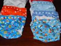 12 Charlie Banana fashion baby diapers in child prints.