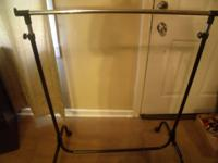 CLOTHES RACK, METAL WITH WHEELS, $ 5.00 CALL  // //]]>