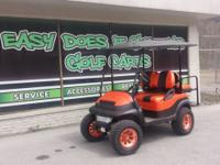 Club Car Precedent Golf Cart in Orange and Black Check