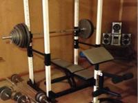Club Weider Weight Set with squat rack, pull up bar,