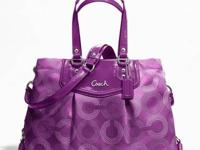 Coach Ashley Dotted Op Art Carryall Purse Purple/Berry