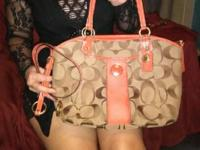Authentic Coach purse, signature beige and orange,
