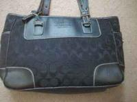 Authentic black fabric/black leather Coach purse. It