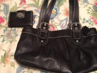 Coach black leather purse with matching wallet.