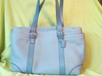 COACH HAMPTON BABY BLUE LEATHER BABY DIAPER TOTE BAG