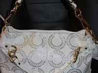 Authentic COACH GILDED OP ART BROOKE White/Gold #15002