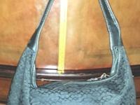 Medium Size Black COACH Monogram SatchelEXCELLENT FAUX