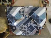 Blue plaid coach purse and matching change purse,,