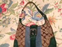 Coach purse with teal and green suede.