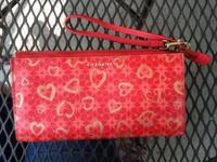 Red coach wristlet 2 gold zippered areas with multiple