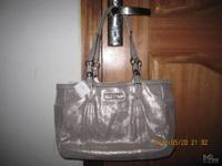 COACH GALLERY LEATHER PEWTER TOTE 16565 100%Authentic,
