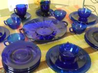 Very Rare Cobalt Blue Glass Dessert or Lunch and Coffee