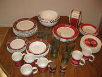 2 Sets of different pattern Gibson Coca Cola dishes.