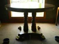 Cochrane wood oak dining room table, with leaf and the