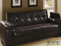 Dark brown PU couch bed serves for lots of purposes.