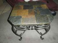 WE HAVE A ROCK SLATE COFFEE TABLE, SOFA TABLE AND END
