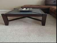 Wood and slate coffee table and end table. Bought at RC