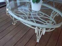 NICE COFFEE TABLE-OFF WHITE METAL OR WROUGHT IRON BASE