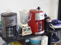 We have several coffee makers, toaster, cappa chino