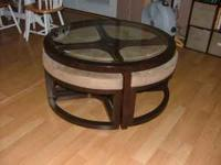 Coffee Table with 4 chairs and glass top. Chairs
