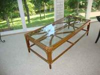 FOR SALE: GLASS TOP RATTAN/WICKER COFFEE TABLE.
