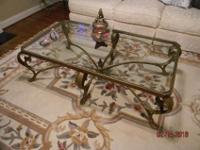Large Coffee table with beveled glass top, in cast-iron