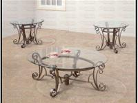 These end tables and coffee table with round glass tops