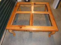 All tables are natural pine & solid wood. Coffee table
