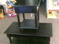 BLACK ONE END TABLE AND ONE COFFEE TABLE 80 CALL OR