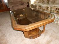 "Glass top coffee table (28"" x 54"")  with matching end"