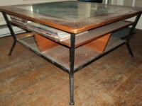Coffee Table with Glass Top This large coffee table has
